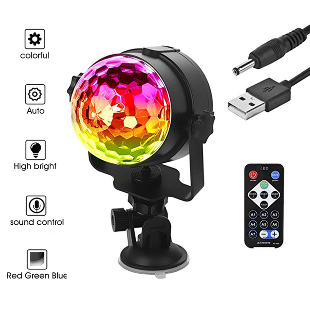 TRANSCTEGO Disco Light USB Party Laser For Car DJ Magic Ball Sound Control Moving Lamp Head vehicle Disco Projector Stage Lights