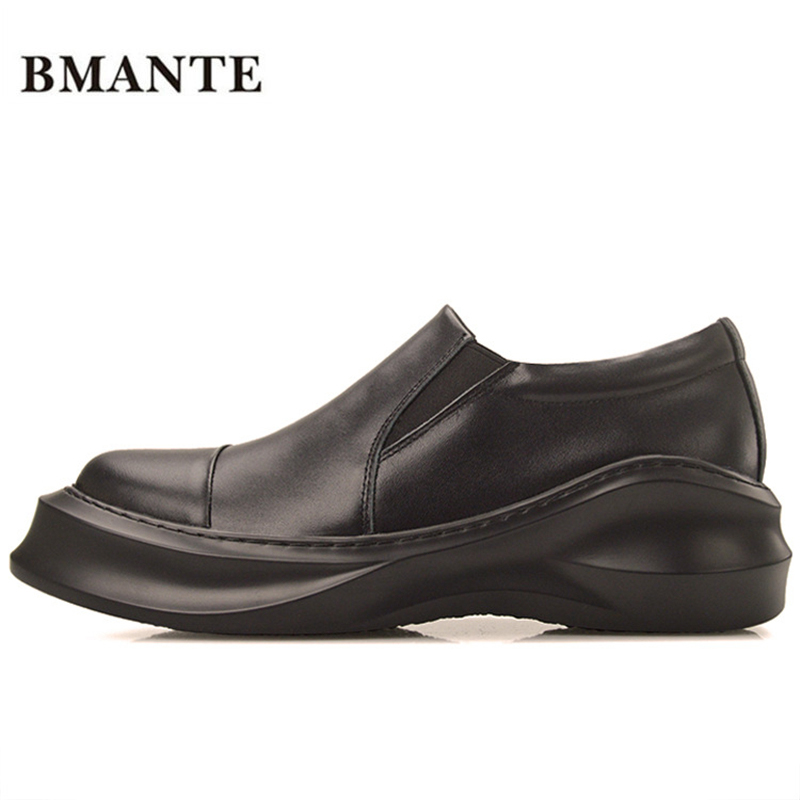Famous designer brand real leather thick soles platform white casual footwear Chaussure Male flatform cheap plateau