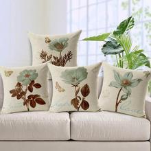 Funda de cojín de estilo Vintage con flores cama suave y cómoda funda de cojín cuadrada textil para el hogar