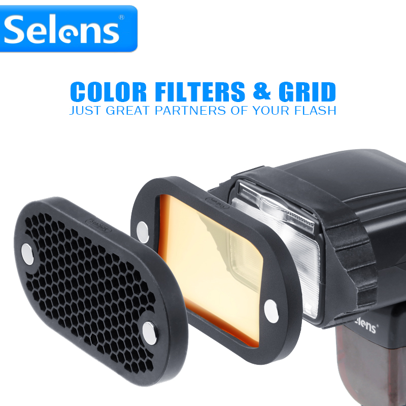 New Selens Seven Color Speedlite Filter Honeycomb Grid with Magnetic Rubber Band for Yongnuo Canon Nikon Flash Accessories Kit цена и фото