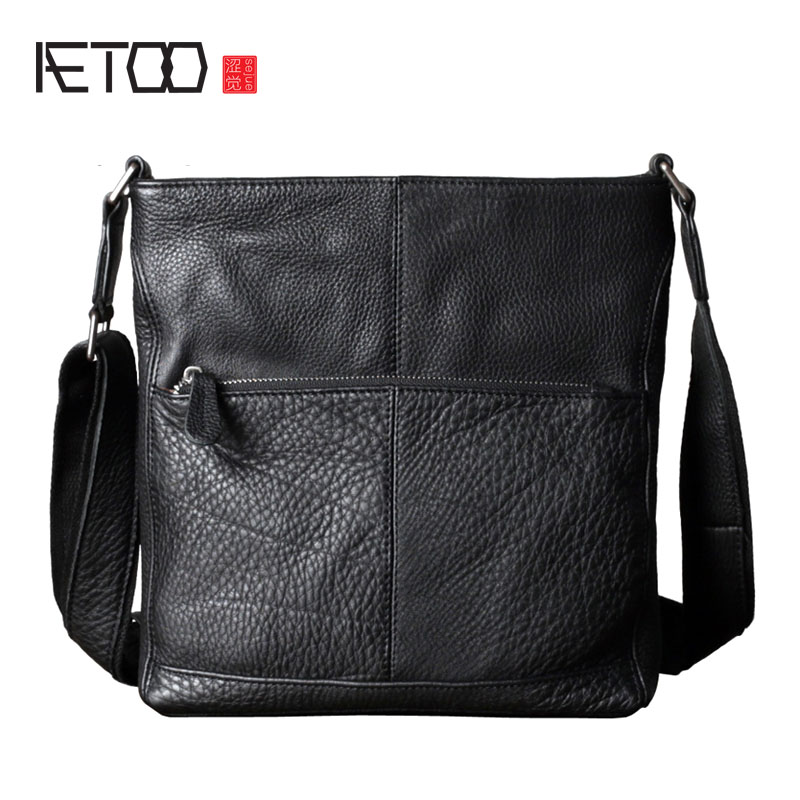AETOO The first layer of leather men's shoulder bag leather casual Messenger bag business vertical section briefcase trend of sm korean version of the first layer of leather vertical section square shoulder messenger bag in the bag fashion casual tassel lea