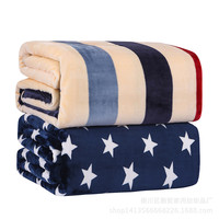 1 Piece Flannel Soft Blanket Plush Air Conditioning Blankets Bedding Throws Winter Warm Bedsheet Sofa Cover Star Stripe Design