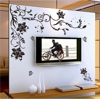 Black Flower vine butterfly vinyl wall stickers home decor rooms living sofa wallpaper Design wall art decals house decoration