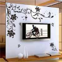 Черный цветок Виноградная бабочка виниловые наклейки на стену домашний декор комнаты гостиной диван обои дизайн стены Искусство наклейки ...