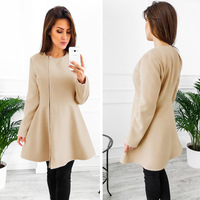 Menbone Autumn Winter Elegant Thin Women Dress Waisted Slim Casual Zipper Dress Khaki Gray Black Long