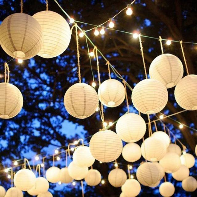 Multi Size White Chinese Paper Lanterns For Party Wedding Decoration Supplies Hanging Ball LED Lamp