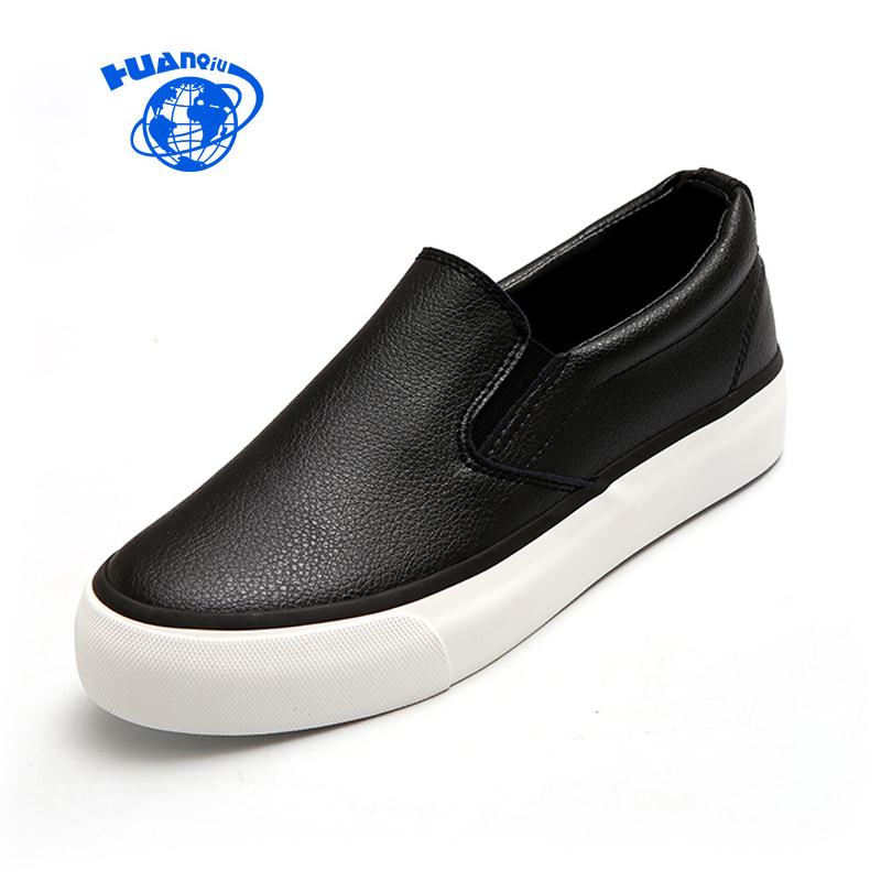 HUANQIU Women Shoes Zapatillas Deportivas Mujer Fashion Leather Shoes Waterproof Flats Slip on Casual Shoes Black White Loafers new designer women fur flats luxury brand slip on loafers zapatillas mujer casual ladies shoes pointed toe sapato feminino black