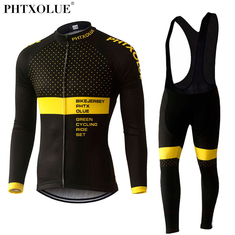 Phtxolue Winter Thermal Fleece Cycling Clothing Set Maillot Ropa Ciclismo Invierno MTB Bicycle Jerseys Bike Sportswear QY370