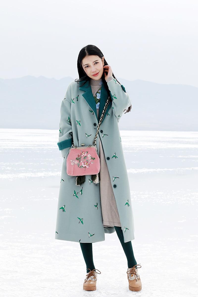 519b5e00badd LYNETTE S CHINOISERIE autumn winter women thickening wool coat white  embroidered berber fleece outerwear wadded jacket-in Wool   Blends from  Women s ...
