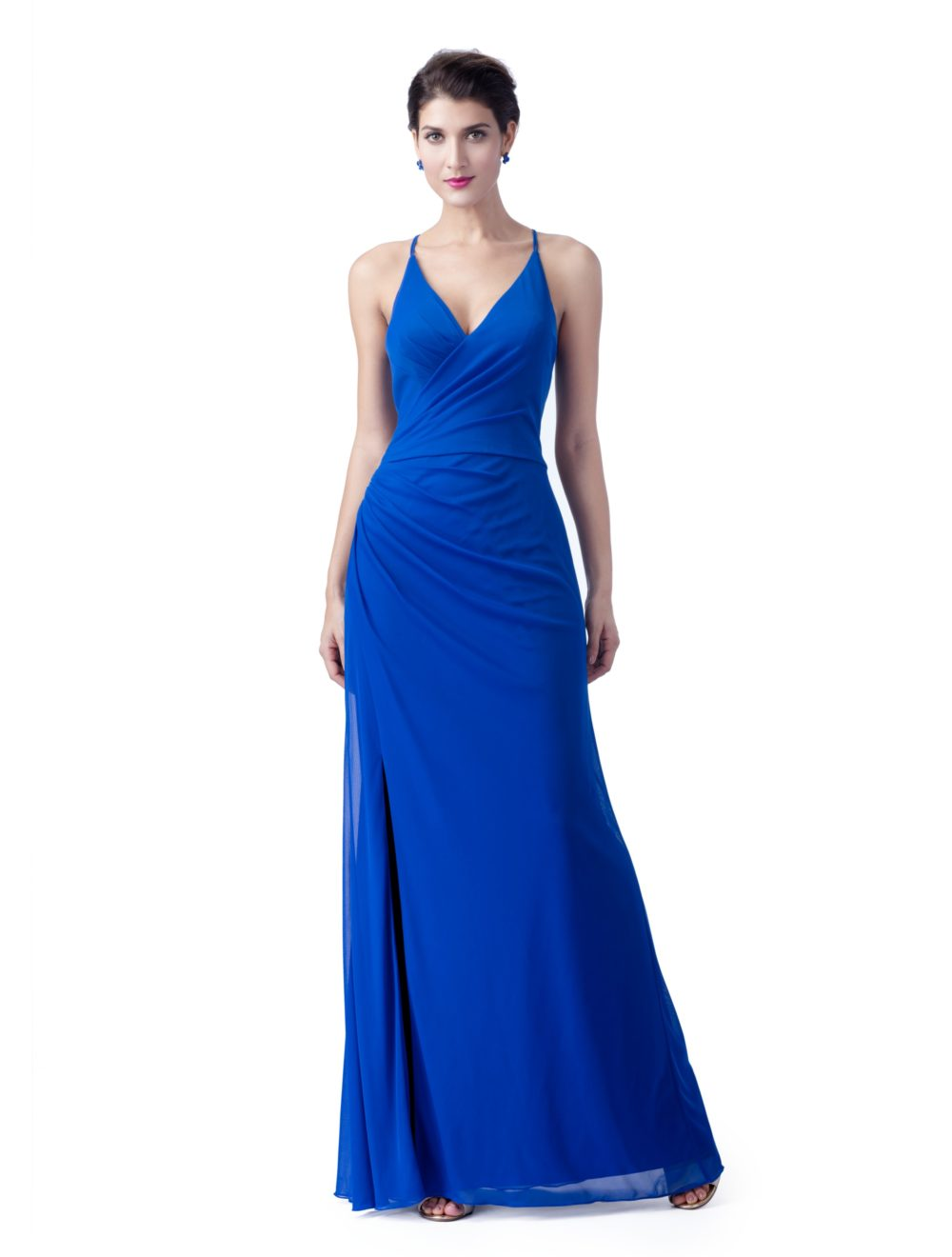 Summer Blue Chiffon Beach   Bridesmaid     Dresses   With Spaghetti Straps Long Floor Length Formal Wedding Party   Dress   Sexy Open Back