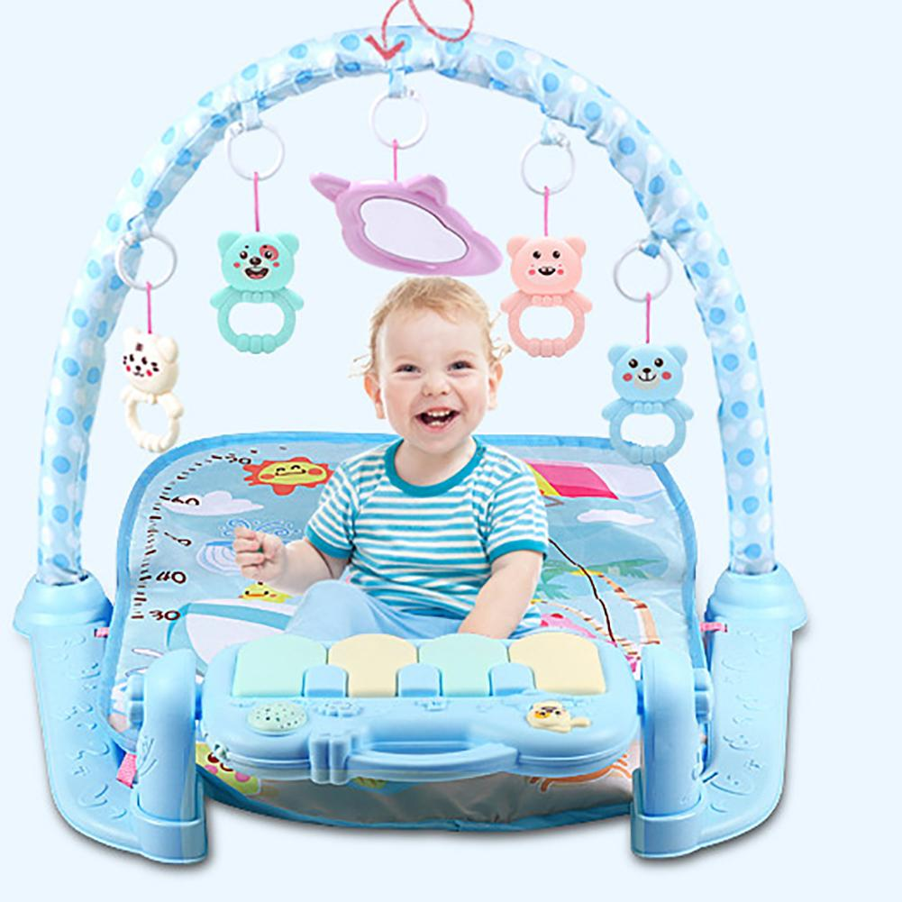 Infant Baby Hanging Cartoon Animal Rattles Piano Music Play Mat Newborn Early Educational Carpet Toys For Children