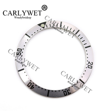 цена на CARLYWET Wholesale High Quality Aluminum Silver with Black Writing Watch Bezel Insert for 2231