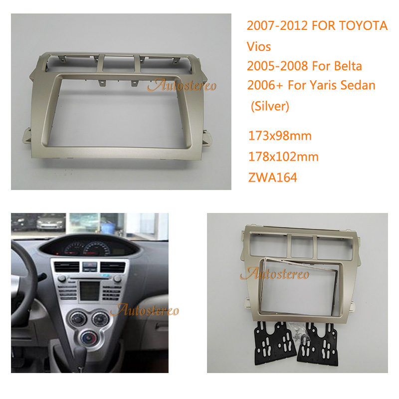 For Toyota Yaris 2007 MK2 SONY Double Din CD Bluetooth Stereo Silver Facia Kit