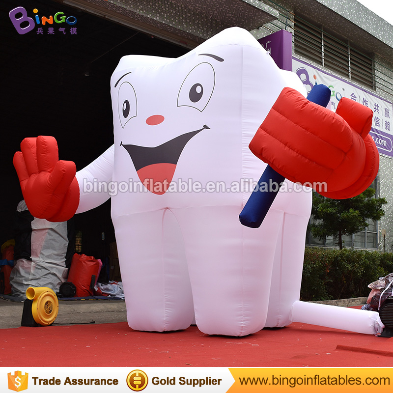 Customized 2.5 meters tall giant inflatable tooth balloon digital printing airblown teeth for decoration toys customized 3 meters long giant inflatable shark high quality decorative blow up shark replica for sale toys