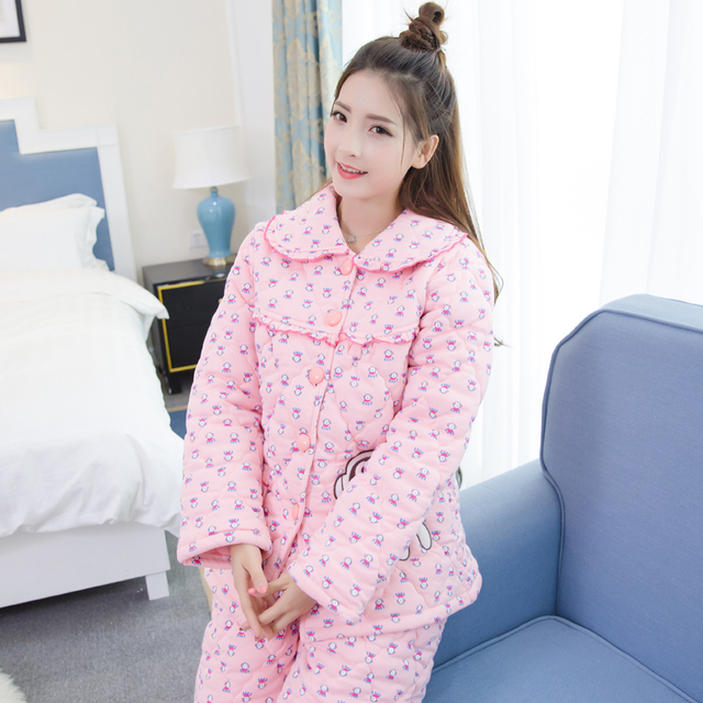 2046871194 Quilted Pyjamas Women Winter Tracksuit Thick Warm Long Sleeved Suit Adult  Minion Pajamas Set Single Breasted