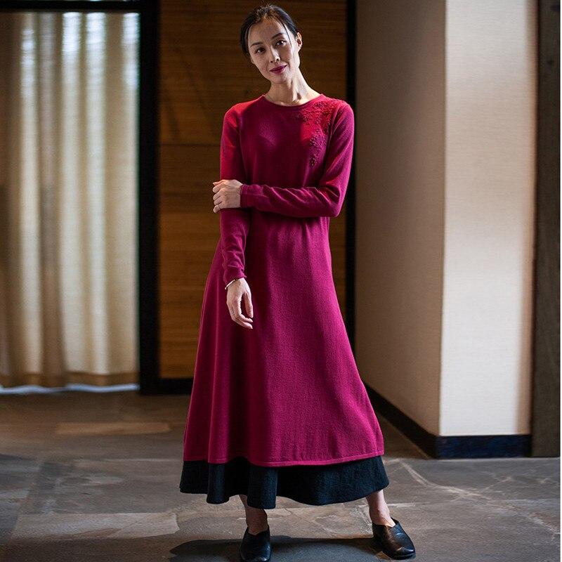97496a362e De Mujeres La Calcetines Las Suéteres Negro Rodilla Manga Jersey Completa Vintage  Otoño Johnature Bordado rojo Mujer O Vestido Invierno ...