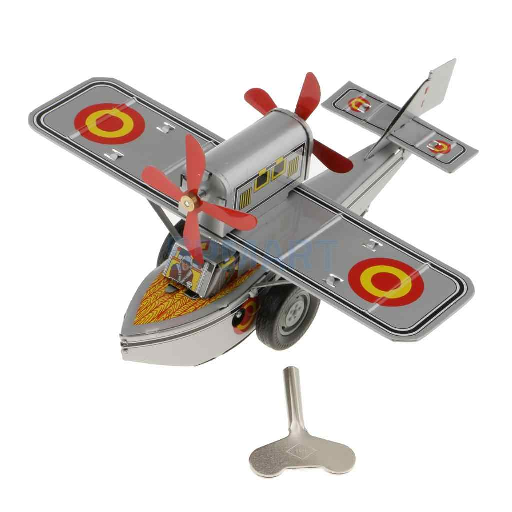 Wind Up Toy Vintage Rotating Airplane Carousel Clockwork Collectible Present O3