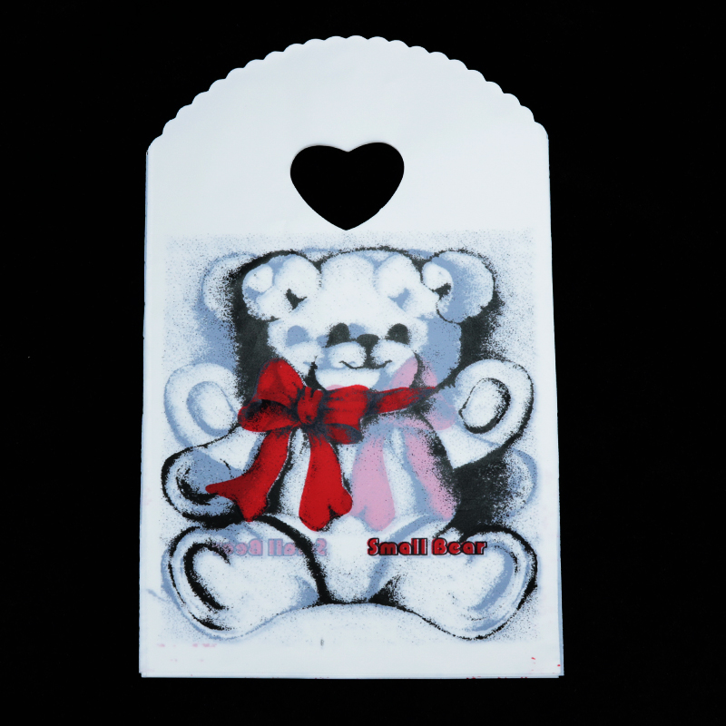 Wholesale 500pcs Bear Print White Plastic Bag 13x21cm Jewelry Beads Boutique Packaging Plastic Gift Bag Shopping Bags