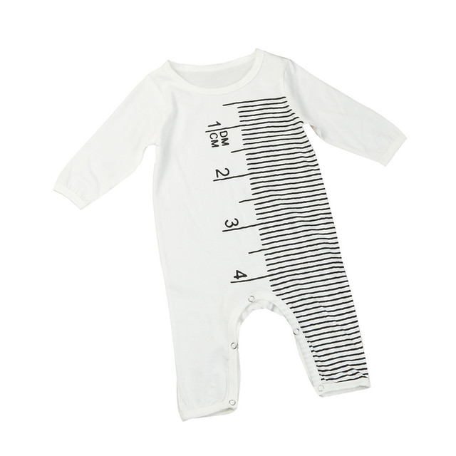 9efd66030ca9 Newborn Infant Baby Boy Girl Ruler Measuring Pattern Jumpsuit Romper  Outfits Clothes Long Sleeve Baby Rompers