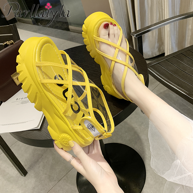 Women's Sandals 2019 Fashion Summer Velcro Tape Ladies Shoes Platform Sandals Feminina Casual Chunky Woman wedge heel 6.5cm