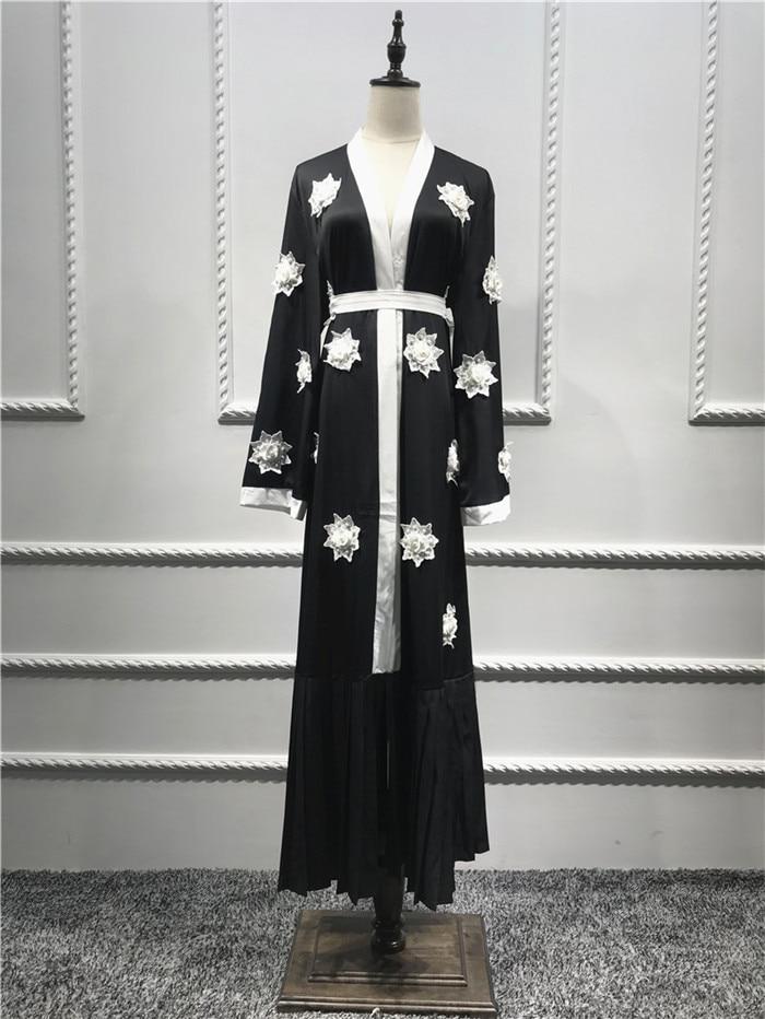 Plissée Ceintures Abaya Kimono Robe Perle Ramadan Islamique Longue Musulman Femmes Fleur Vêtements Beige noir Arabe Broderie Cardigan Nouveau 0wwqx8f