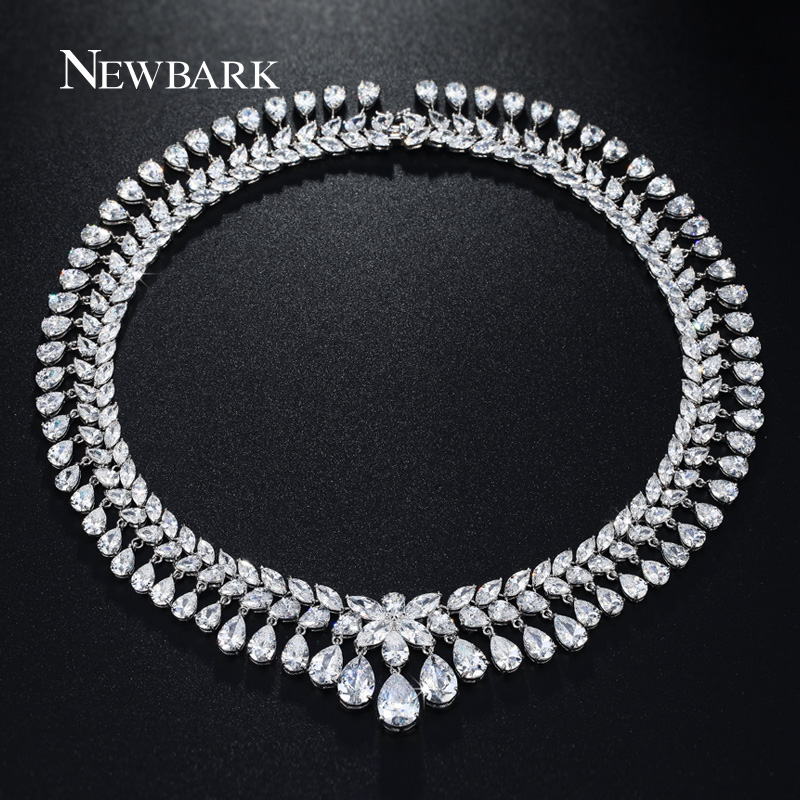 NEWBARK 2 Layer Cubic Zirconia Water Drop Necklace Choker Silver Color Big CZ Stone Necklaces & Pendants For Women Wedding vintage water drop choker necklace for women