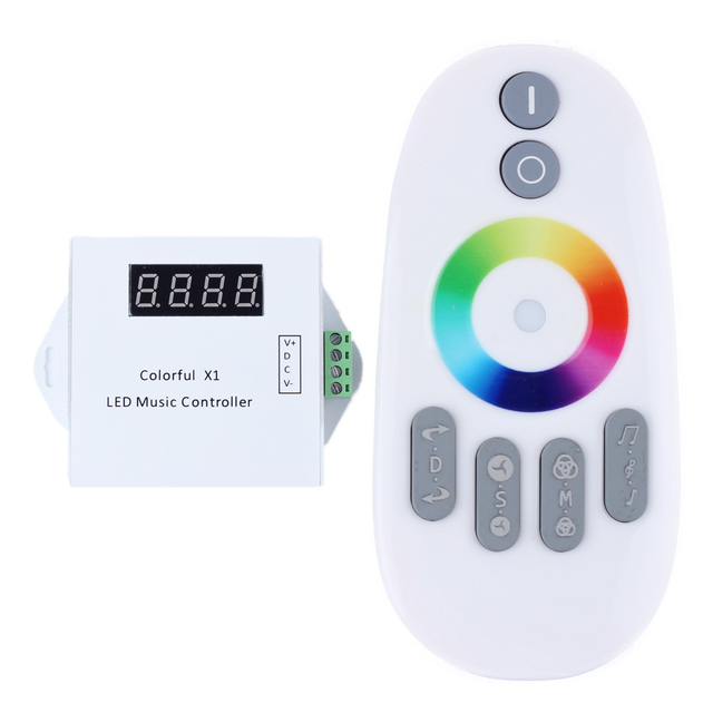 WS2811/WS2812B/WS2813/USC1903 LED digital music controller with RF touch remote;DC5-24V input;can control max 600pixels