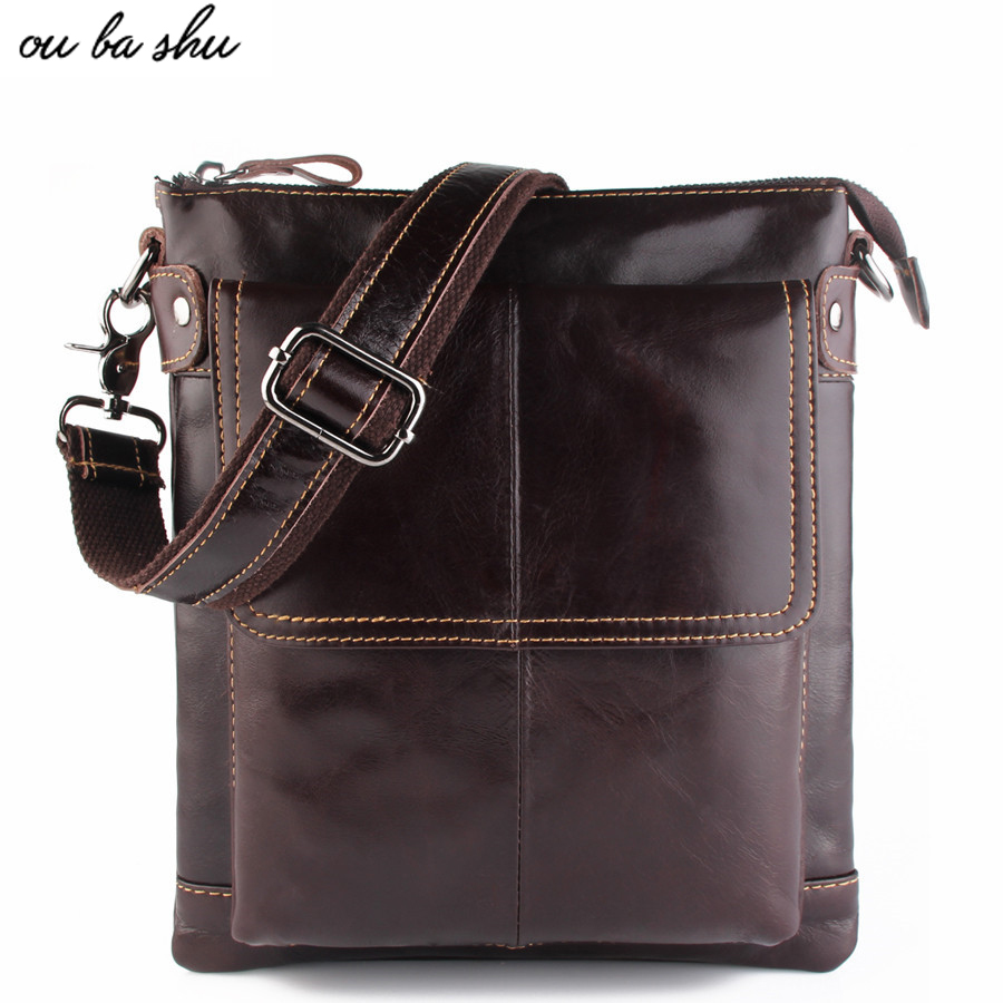 OU BA SHU 2017 Genuine Leather Bags Men High Quality Messenger Bags Small Travel Dark Brown Crossbody Shoulder Bag For Men ou ba shu fashion designer high quality genuine leather crossbody bags design bags cowhide leather small messenger bag for man