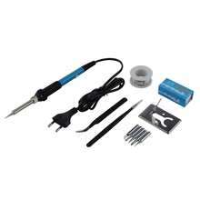 220V 60W Adjustable Temperature Electric Soldering Iron Kit 5pcs Tips Portable Welding