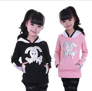 New Arrival 2014 Autumn And  Winter Girls Clothing Hoodies Sweatshirts Girls Patchwork Leather Plus Velvet Outerwear Coat Pink