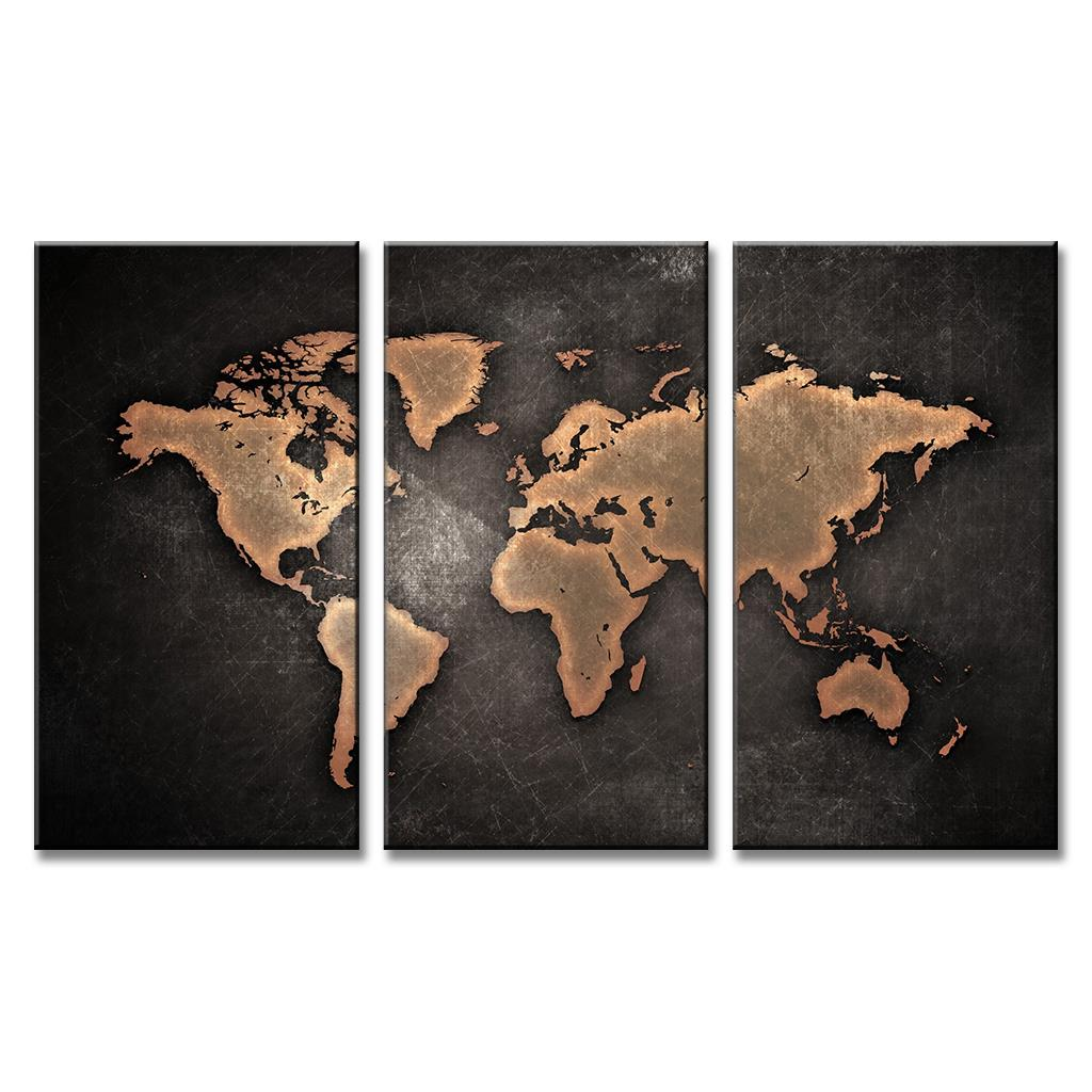 3 Pcs Set Framed Black World Map Posters Abstract Global Map Canvas