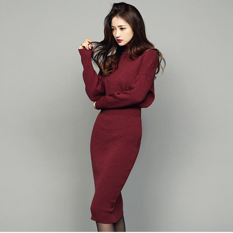 Autumn winter women knit dress Loose bat sleeve long wine red black khaki sexy package hip Turtleneck vestidos bandage dresses