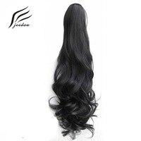 İpli Pençe Saçlarınızı # 1B Doğal Siyah Dalgalı 55 cm 160g Ponytails Sentetik Saç Uzatma Fiber Kadın Hairpieces