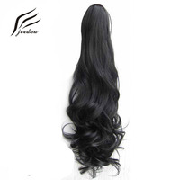 5 Pieces/Lot jeedou Drawstring Claw Ponytail Natural Black Wavy Synthetic Hair Extension Women's Undone and Messy Hairpieces