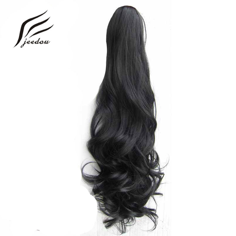 jeedou Drawstring Claw Ponytail #1B Natural Black Wavy 55cm 160g Ponytails Synthetic Hair Extension Fiber Women Hairpieces