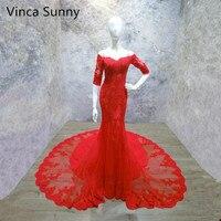 Vinca Sunny 2018 Off Shoulder Red Lace Mermaid Evening Dresses Half Sleeve Vestidos De Fiesta Largos