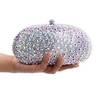 luxury silver full diamond clutch evening bags fashion women crystal prom clutch purse wallets wedding bridal sac pochette Purse
