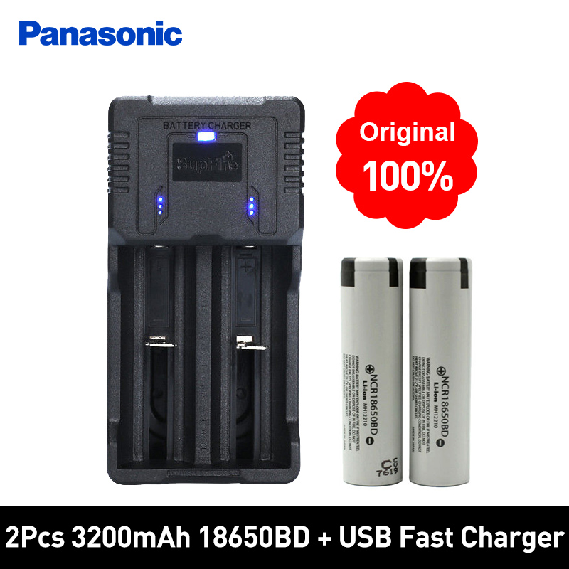 Panasonic Li ion 18650 Rechargeable Batteries 3.7V 3200mAh Lithium Battery and Fast Charger Best Quality