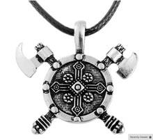Viking Double Axe Shield Necklace
