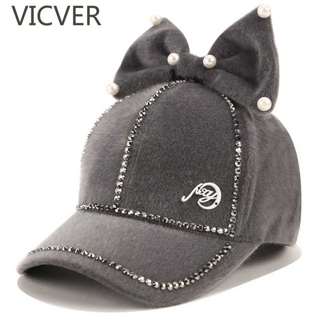 17f2b6819 US $6.23 52% OFF|Fashion Women Ladies Baseball Caps Pearls Bowknot Kids  Girls Cap Winter Suede Warm Hat Snapback Hip Hop Children Baseball Hats-in  ...