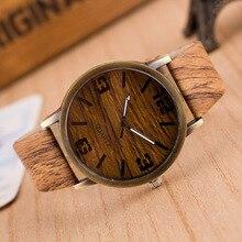 Fashion Quartz Watch Women Wood Watches Casual Wooden Grain Print Wrist Dress Leather Analog Wristwatch Relogio Feminino Relojes
