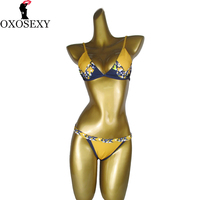 yellow push up bikini 2017 pad Chest printed sexy Bikini Swimsuit low waist bikini Swimwear Women Biquini Bathing suits 557