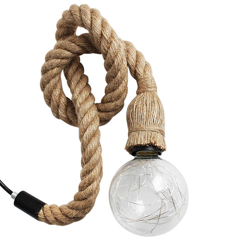 Винтажная пеньковая веревка, подвесной светильник, освещение в помещении для гостиной, промышленная лампа в стиле ретро Эдисона, одноголовая лампа в американском стиле