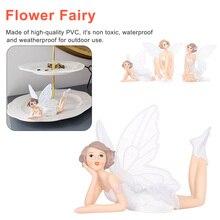 3pc/set Home Car Cake Decoration Flying Flower Fairy Garden DIY Miniature White Angel Ornaments Cartoon Gifts