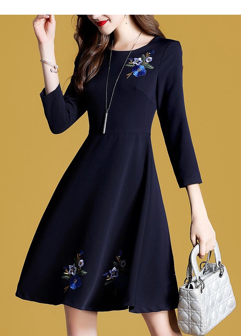 Bleu Robes Parti Élégant Col S Vêtements Robe 4 Florale Outfit Automne Broderie Rond Manches Femmes xxl Marine Nouveau 3 HOpwngBq