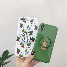 GYKZ Cartoon Cactus Grip Stand Case Cover For iPhone XS MAX XR 7 6 6s 8 plus Plants Soft Silicone Phone Shell X Coque