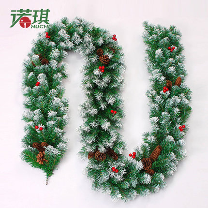 2.7m Christmas garland green with snow pine cone red fruits ...