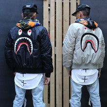 2016 autumn and winter fashion trend of the street wgm embroidery for shark ma1 teenage air force jacket outerwear coat