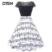 OTEN Vintage dresses 2018 summer Musical note printing lace Patchwork Elegant Slash Neck retro Knee-Length A-line Swing Dresses