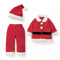 Baby Clothes Christmas Romper+ Hat Polar Fleece Clothing Group Of Neonatal Christmas Santa Baby Clothes